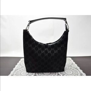 Auth Gucci GG Ssima Black Suede & Leather bag